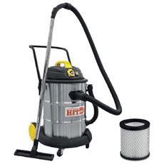Bidone Aspiratutto Inox Lt 50 W 1600 Solidi Liquidi Filtro Hepa Presa Elettrica