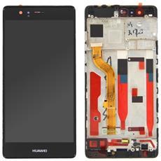 Lcd Touch Screen Vetro E Cover Frame Completo Nero Per P9