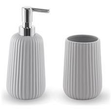 Set Accessori Lavabo Serie Dory In Ceramica Grigio