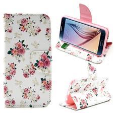 Custodia Portafogli Flower Pattern per Samsung Galaxy S6 + Pellicola e Panno