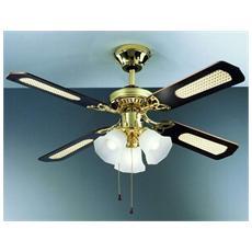 7060OL Ventilatore da Soffitto 4 pale Diametro 105 cm con Kit Luce Colore Ottone Lucido