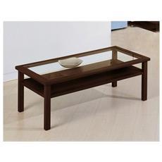 Tavolino Da Salotto Mod. 430 In Mdf Nei Colori Ciliegio E Wengè Con Piano In Cristallo Cod. 06499