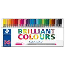 conf. 30 penne punta fibra brilliant colors Staedtler 334M30