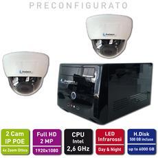 Kit Videosorveglianza Ip Poe Motorizzato Top Interno : Nvr + 2 Camere Ip Zoom Full Hd 2 Mp