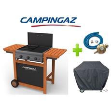Barbecue A Gas Gpl (bombola) Campingaz Adelaide 3 Wody Con 3 Bruciatori In Ghisa + Kit Regolatore Bombola Attacco Italia + Telo Copertura Originale Campingaz