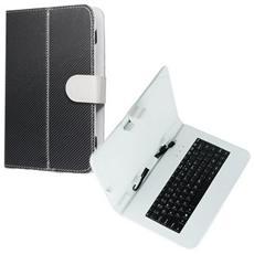 Custodia Universale Con Tastiera - Pennino E Stand Orizzontale A Molle Attacco Micro Usb Per Tablet Da 7' Pollici Colore Bianco