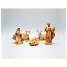 Natività 12cm 5 Statuette In Resina Statuine Presepe Gesù (f-138)