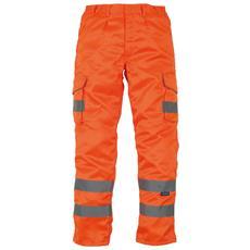 Pantaloni In Policotone Con Bande Riflettenti Uomo (taglia 34inch / 86 Cm - L) (arancio)