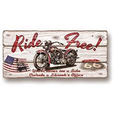 Quadro Riproduzione Su Tavola Stile Shabby Board Charm Brown 22x50 Ride Free