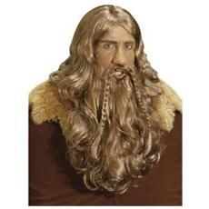 parrucca vichingo con barba e baffi
