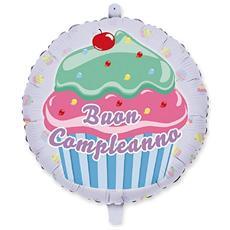 Palloncino Mylar Buon Compleanno Cupcake Ø 45 Cm