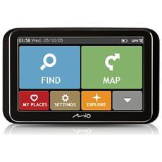 "Navigatore GPS Spirit 6970 LM Display 5"" Tutta Europa con Bluetooth Nero"