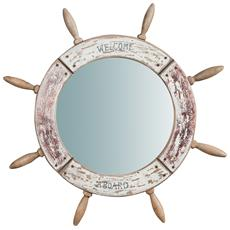 Specchio Da Parete A Forma Di Timone In Legno Massello Diam. 73xpr3,5 Cm
