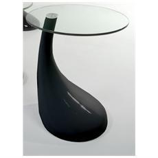 Tavolino Da Pranzo Con Struttura In Resina Verniciata Nero Lucido Mod. 0337