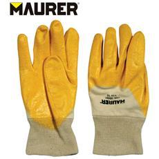 Paio di guanti da lavoro nitrille fodera cotone polsino elastico Tg 10