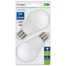 Lampadine Led E27 A65 15w Smd Bulbo Luce Calda 2700k 2 Pz V-tac Vt-2117 7300