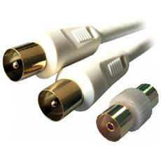 MC782HQ-3M, 9.5mm, Maschio / maschio, 9.5mm, Bianco, Bianco, Oro