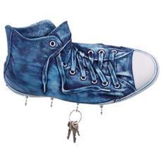 Portachiavi da parete ''Richie'' in resina decorata a mano cm 30x17x10, jeans