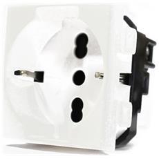 1 Presa Schuko 2p16 A Da Incasso Electrowatt Bianco Compatibile Btcino Matix