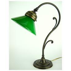 M33 Lampada da tavolo in ottone brunito e paralume in vetro H 36cm