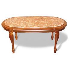 Tavolino Da Salotto Mod. 364 Base In Legno Di Faggio Con Piano Agglomerato Di Marmo Cod. 06112