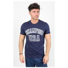 T-shirt Tee Scritta Usa Blu M