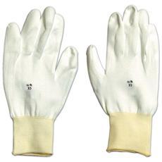 Guanti da Lavoro in Poliuretano Bianco Tg. 8 con Polsino Confezione 12 Paia