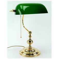 LM4 Lampada da tavolo ministeriale in ottone lucido e paralume in vetro Altezza 39cm