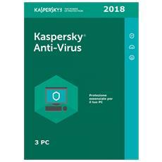 Antivirus 2018 - 3 Pc - 1 Anno - Multilingue - Esd - Digital Code