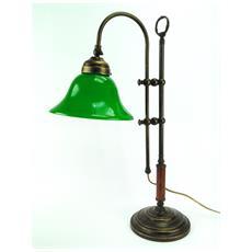 SLG3 Lampada da tavolo in ottone brunito e paralume in vetro H min 56cm, H max 68cm