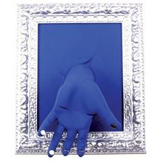 Portachiavi da parete ''Cornice'' mano in resina decorata a mano cm 33x27x11, cromo e blu