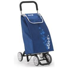 Carrello Spesa Twin 4 Ruote Blu Spesa Facile Shopper