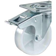 Ruota In Nylon Bianco Con Gabbia A Rulli Montata Su Supporto Rotante Con Freno Totale Diametro Mm. 80 Portata Kg. 100 Ruota Monolitica In Poliammide Ruote Per Carrelli Settore Industriale