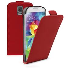TEFLIPSAS5R SMARTPHONE Custodia FLIP ecopelle con apertura a FLIP e cradle posteriore, colore rosso per Samsung Galaxy S5 / S5 Neo
