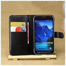 Custodia Portafogli Nero per Samsung Galaxy S5 Active + Pellicola e Panno
