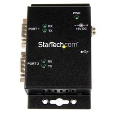 Hub adattatore USB a seriale 2 porte per montaggio a parete con clip per guide DIN