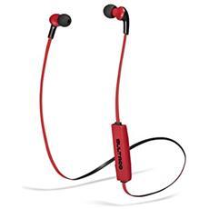 Lobito BT Slim Auricolare Stereofonico Bluetooth Nero, Rosso auricolare per telefono cellulare