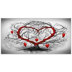 Quadro Su Tela In Stampa Di Alta Qualità Montata Su Telaio In Legno Canvas Deep 77x143 L'albero Dell'amore