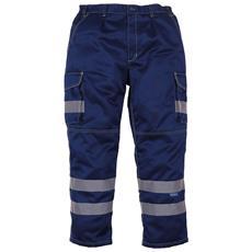 Pantaloni In Policotone Con Bande Riflettenti Uomo (taglia 34inch / 86 Cm - R) (blu Navy)