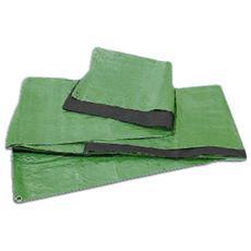 Telo multiuso occhiellato m 3x4 tessuto double face di colore verde e nero