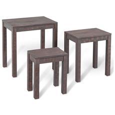 Tavolini Ad Incastro 3 Pz In Legno Massello Di Acacia Effetto Fumo