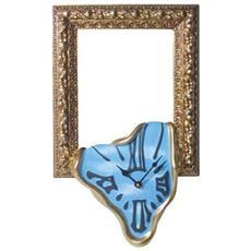 Orologio da parete ''Cornice portafoto / specchio'' in resina decorata a mano Meccanismo al quarzo tedesco UTS Dimensione cm 47x27x6 Colore oro e celeste con nuvole