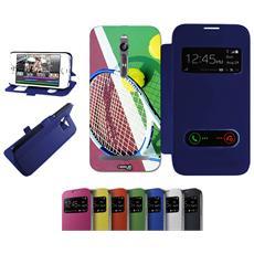 Flip Cover Blu Racchetta Tennis Per Asus Zenfone 2 Deluxe Ze551ml Blu - Custodia Protettiva Richiudibile