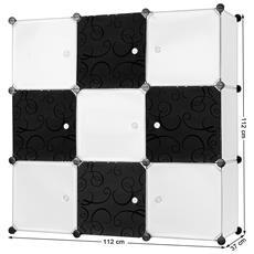 Mobiletto Modulare Quadrato Bianco E Nero 9 Scomparti Lpc33w