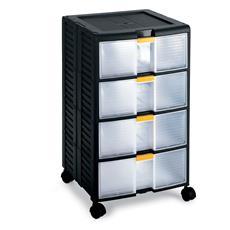 Cassettiera Bricolage Store-age 44001 nero / trasparente L39,1 x P39 x H62,9
