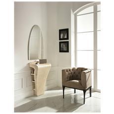 Consolle Fissa Con Specchio Da Salotto Realizzato In Pietra Fossile Colore Bianco Mod. Medusa Fs 013 Ma