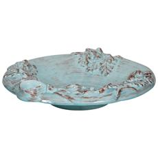 Vassoio Fruttiera Centro Tavola In Ceramica Di Bassano L45xpr45x10 Cm. Made In Italy