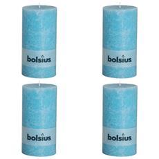 Set 4 Candele Pilastro Rustiche 200 X 100 Mm Blu