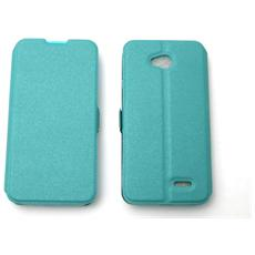 Lg D320 L70 Dual Custodia Bag Case Libro Book Pocket Colore Celeste