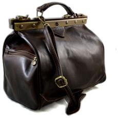 c9c550dc71 SHOPSMART - Borsa Donna Doctor Bag Vera Pelle Medico Handbag Manici E  Tracolla Testa Moro